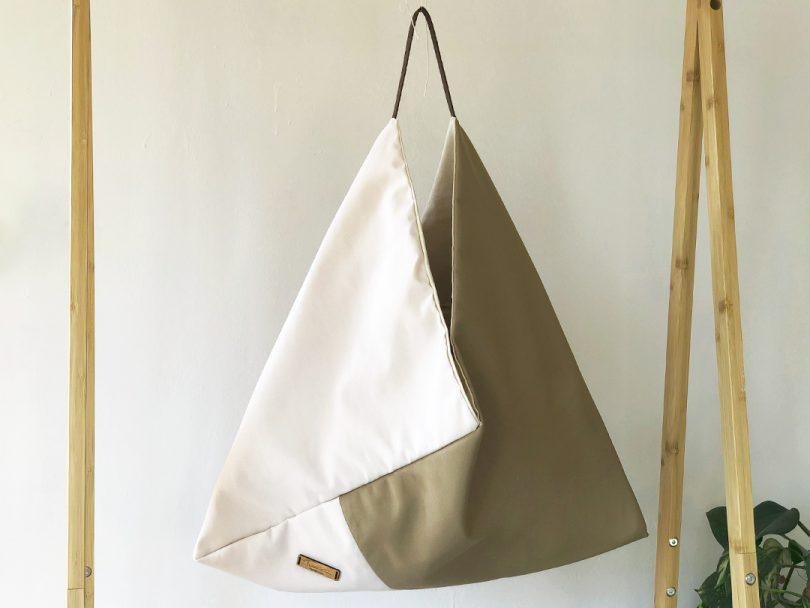 Bolso Ecologico Origami Beige y Marron Asa de Algodon Ecologico