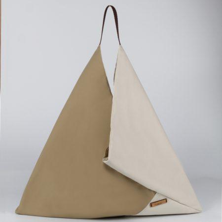 Bolso origami marrón y beige Tribbutum